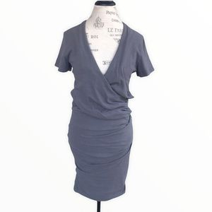 JAMES PERSE Medium Grey Short Sleeve Bodycon Faux Wrap Ruched Dress